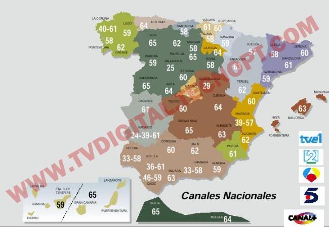 mapa emissores espanha Frequencias de emissores e canais TDT em espanha e portugal
